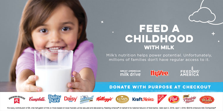 Hy-Vee to Support The Great American Milk Drive Throughout March